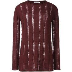 Alexander Wang distressed knit sweater (1.040 BRL) via Polyvore featuring tops, sweaters, red, alexander wang sweater, knit sweater, long red sweater, ripped sweater e long sleeve knit sweater