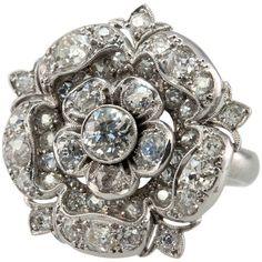 2 Carat Diamond Tudor Rose Ring found on Polyvore featuring women's fashion, jewelry, rings, diamond jewellery, statement diamond rings, rose jewellery, diamond jewelry and diamond rings