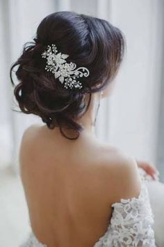 Image result for bride flowers native hair brunette