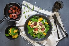 Peas risotto with roasted chorizo oranges and snow peas – Marley Spoon