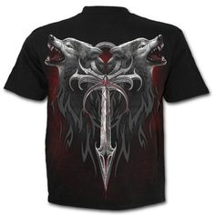 Mens LEGEND OF THE WOLVES T-Shirt Black Shop Online From Spiral Direct, Gothic Clothing, UK