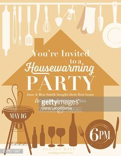 Vector Art Housewarming Party Kitchen Invitation Invitations Invites House Silhouette
