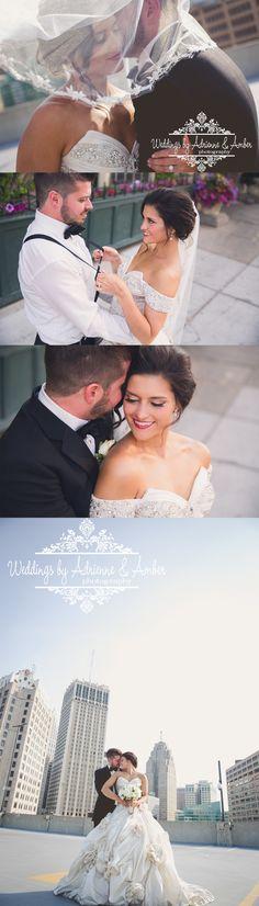 Royal Oak Wedding Photographers-Weddings by Adrienne & Amber #royaloak #weddings #photography #weddingsbyaa #detroit #royaloak #bride #groom #downtown #buildings #gorgeous #rooftopwedding #inlove #love