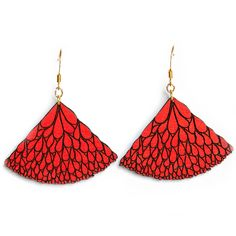 Abanico Red Walnut Earrings: These stylish and fun bright red earrings are based on an original hand drawn illustration by Marta Chojnacka. -Painted by hand at her Barcelona workshop -Made using natural solid walnut wood -A varnish coat has been applied by hand to each item for a lasting finish