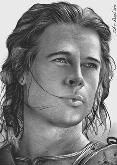 Artist Fabio Rangel Brad Pitt as Achilleus Realistic Pencil Drawings, Graphite Drawings, Pencil Art Drawings, Cartoon Drawings, Portrait Sketches, Pencil Portrait, Portrait Art, Art Sketches, Brad Pitt