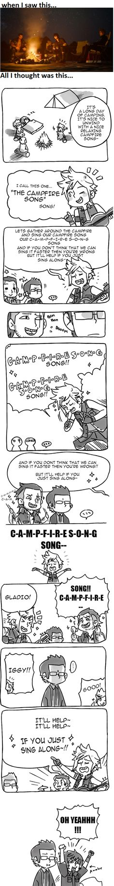 Prompto Campfire song ~ PFFFFT THAT'S GREAT! I LOVE NOCTIS IN THE LAST PANEL XD
