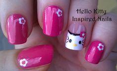 Hello Kitty inspired #nailart - Pink #naildesigns - For more easy #nail ideas please visit: https://www.youtube.com/user/LifeWorldWomen