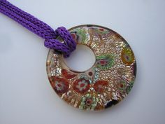 Colgante de cristal de murano con cordón tejido a mano por PMini, €10.00