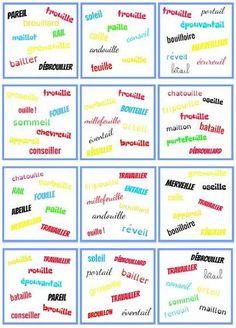 Un nouveau Dobble, c'est fois-ci avec les mots en ail, eil, euil, ouil. Avec 8 mots par carte, 57 cartes. Liste des... Education, Reading, Logo, Cycle 2, Voici, Phonological Awareness, Reading Games, Reading Comprehension, Readers Workshop