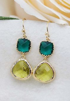 Dangle Earrings Gold Framed Olive green and emerald