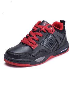 Black & Red Side-Tab Sneaker