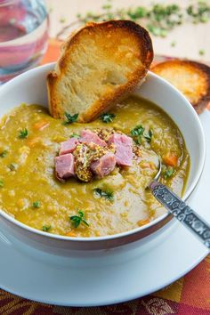 Split Pea Soup Recipe ~ pure comfort food and a great way to enjoy that leftover ham bone. Add the grainy mustard to give it an extra kick. Made this in the crockpot. Will make again with a leftover ham bone. Slow Cooker Recipes, Crockpot Recipes, Soup Recipes, Cooking Recipes, Healthy Recipes, Cooking Ham, Freezer Cooking, Recipies, Split Pea Soup Recipe