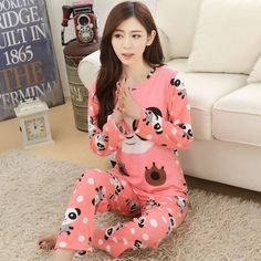 New Cartoon Pajama Sets For Women Long Sleeve Round Neck Pijama Pajamas Pyjama femme Sleepwear Nightwear Womens Clothing PJ3