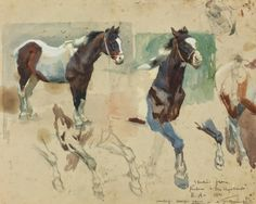 """Sir Alfred James Munnings (1878-1959) Studies from the picture """"The Vagabonds"""" watercolor and graphite on paper 10 ¾ X 13 ½ in."""
