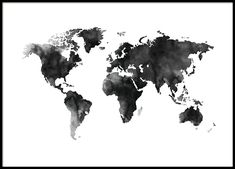 Schwarz-Weiß-Poster mit Weltkarte in Aquarell-Technik bei Desenio Black and white poster with world map in watercolor technique at Desenio Kids World Map, World Map Wallpaper, World Map Wall Art, World Map Poster, World Maps, Bedroom Wallpaper, Poster Shop, Print Poster, Carte New York