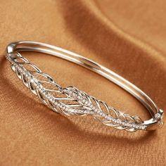Fashion Hollow Feather Shape 925 Silver Women's Bangle