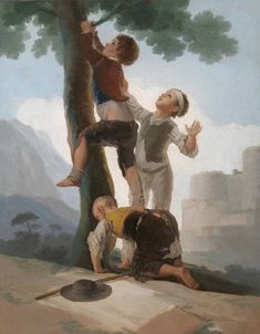 Inch Print - High quality prints (other products available) - Francisco de Goya y Lucientes Spanish painter. Boys Climbing a Tree, Prado Museum. Date: - Image supplied by Mary Evans Prints Online - Photograph printed in the USA Francisco Goya, Tree Canvas, Canvas Art, Canvas Prints, Big Canvas, Framed Prints, Spanish Painters, Spanish Artists, Art Espagnole