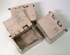Maria Kristofersson; neat idea to explore a ceramic box with wire run through the hinges