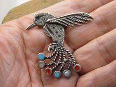 Used OLD VINTAGE ZUNI STERLING SILVER INLAY TURQUOISE HUMMINGBIRD ...