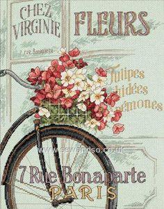 Buy Parisian Bicycle Cross Stitch Kit Online at www.sewandso.co.uk