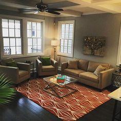 #BrookCan stage your home! Ballard Linen + Boomerang Rust rug...