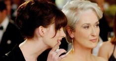 """The Devil Wears Prada"" by David Frankel - Anne Hathaway & Meryl Streep Miranda Priestly, Meryl Streep, Anne Hathaway, Patricia Field, Kim Basinger, Devil Wears Prada, Lisa Marie Presley, Priscilla Presley, Mtv Movie Awards"