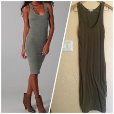 "James Perse Twisted Hem Tank Dress Midi Knee 2 S M Gorgeous! Gently worn-too small for me. Tiny minor snags to fabric near bottom of dress, hardly noticeable. Gorgeous olive gray brown green fatigue color. This scoop-neck jersey tank dress features subtle ruching at the bust. 1.5"" straps. Double-layered.  * 44"" long, measured from shoulder. * Fabrication: Jersey. * 94% cotton/6% lycra. * Wash cold. * Made in the USA Size 2 which translates to a small/medium  hits me right at the knee-a…"