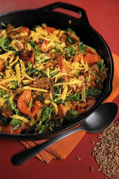 Farro bowl  A farro-based recipe gets suport from roasted sweet potatoes, broccoli rabe, cheese and Italian sausage. (Styling by Lisa Schumacher)  http://www.chicagotribune.com/lifestyles/food/ct-ct-grains03-jpg-20150210-photo.html