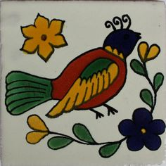 Red Bird Talavera Mexican Tile