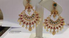 uncut diamond chand bali earrings new pattern Pearl Necklace Designs, Jewelry Design Earrings, Gold Earrings Designs, Gold Jewellery Design, Pendant Jewelry, Chand Bali Earrings Gold, Gold Jhumka Earrings, Beaded Earrings, Indian Earrings