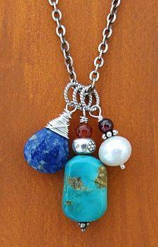 Kingman turquoise pendant necklace  handmade-beaded-gemstone-jewelry.com  #handmade #jewelry #necklace