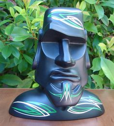 Moai Sculpture Tiki Easter Island Polynesian Pop by OddRodney Easter Island Statues, Tiki Lounge, Tiki Art, Totems, Black Felt, Resin Art, Kitsch, Primitive, Sculptures