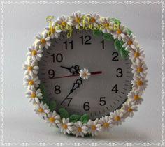Relógio primavera, decorado com porcelana fria Porcelana fria, pasta francesa, masa flexible, fimo, polymer clay, porcelain froid, modelado, figurine