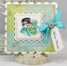 JustRite Christmas Card designed by Mona Pendleton w/Spellbinders Grand Scalloped Squares and Lacey Circles dies