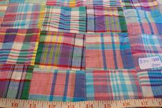 PATCHWORK MADRAS FABRIC, Plaid Fabric, Linen Fabric, Chambray Fabric & Organic cotton - Patchwork madras, Madras plaid, Preppy madras, chambray, shirt fabric, cotton fabric