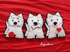 Felt Westie applique - how cute is that! Dog Crafts, Sewing Crafts, Sewing Projects, Dog Ornaments, Felt Christmas Ornaments, Felt Dogs, Felt Brooch, Felt Patterns, Felt Fabric