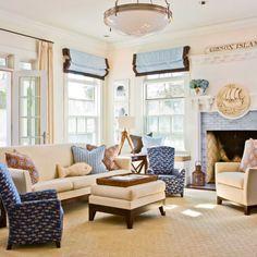 lakehouse livingroom, love the fish pillow!