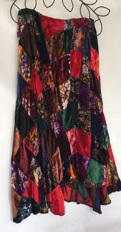 Bohemian Vintage Patchwork Mixed Velvet hi-low Elastic Waist Skirt one size fits most by HappyChipWidow on Etsy https://www.etsy.com/listing/263390806/bohemian-vintage-patchwork-mixed-velvet
