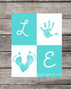 Personalized Handprint/ Footprint Poster - L O V E