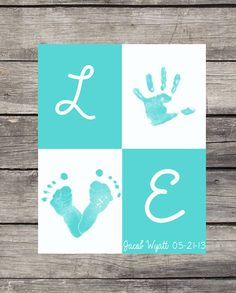 Printable, personalized poster of your childs hand print and footprints in the shape of the letters O and V to create a beautiful gift that your