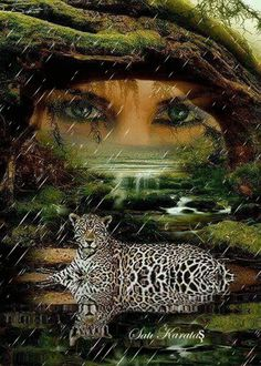 Lady of the Forest with her cheetah Beautiful Gif, Beautiful Pictures, Animated Love Images, Amazing Gifs, Gif Photo, Big Animals, Glitter Graphics, Fantasy Creatures, Dark Art