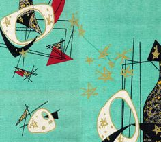 1950s modern barkcloth. Quite a distinct shade of turquoise! - color palette