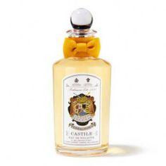 CASTILE PENHALIGON'S. Le néroli a un côté savonneux et orange amère. Un classique chez Penhaligon's. Il est frais, vivifiant, et a toute la sensualité chaleureuse des nuits méditerranéennes. Les bois précieux arrondissent l'ensemble et évoque aussi la marmelade d'orange, le grand soleil.