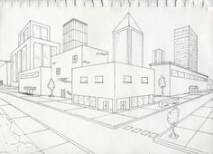 A two point perspective sketch for class. Two point perspective exterior 2 Point Perspective City, 2 Point Perspective Drawing, Perspective Art, Drawing Lessons, Drawing Techniques, Drawing Step, City Drawing, 8th Grade Art, Art Graphique