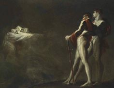 The three witches appearing to Mcbeth and Banquo.c.1800-1810. Oil on Canvas. 87.3 x 111.7 cm.  Art by Henry Fuseli.(1741-1825).