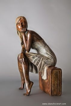 """""""Molly"""" by Alain Choisnet , born 1962 French , bronze with polychrome patina , 2010 , cm 25 x 22 x 43 edited in 8 copies Human Sculpture, Art Sculpture, Pottery Sculpture, Bronze Sculpture, Statue Ange, Plastic Art, Contemporary Sculpture, Pablo Picasso, Art Plastique"""