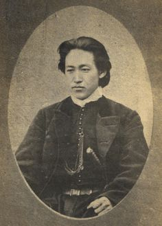 the portrait of handsome reactionary Toshizo Hijikata (1835-69) by Tamoto Kenzo. The photograph has created a romantic legacy for the sub-commander of the rebel Shinsengumi, a group that supported the last shogun and opposed the restoration of the Emperor Meiji. Hijikata lives on as a popular manga and anime character in part due to this one photograph.