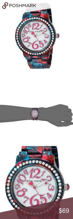 Betsey Johnson Navy & Fuchsia Floral Galaxy Watch Watch Betsey Johnson Accessories Watches