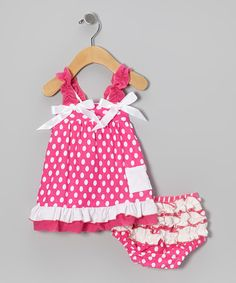 Polka Dots & Ruffles! Cute baby girl outfit. $18.99 today on Zulily!