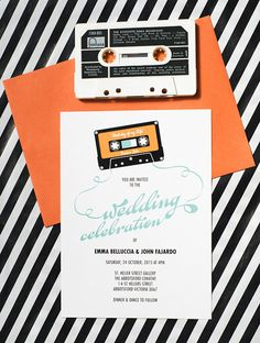 A fun music wedding invitation, perfect for the inner 80s child couple. When…